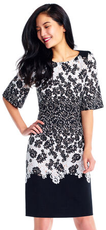 Lace Print Colorblock A-Line Dress with Elbow Sleeves
