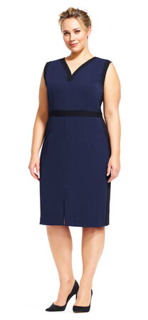 Sleeveless Colorblock Sheath Dress with V-Neck