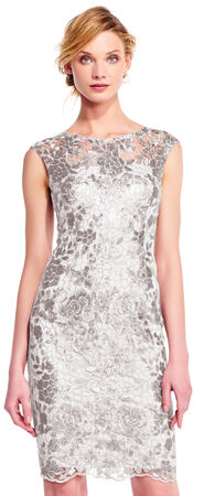 Sequin Floral Lace Sheath Dress with Illusion Neckline