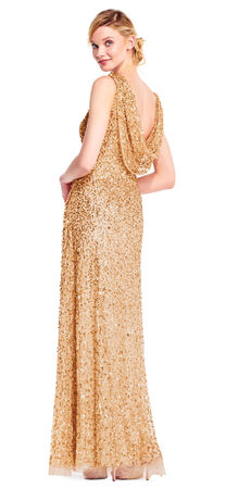 Sleeveless Sequin Beaded Gown with Cowl Back