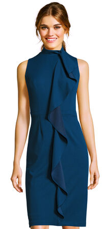 Sleeveless Mockneck Sheath Dress with Ruffle Accent