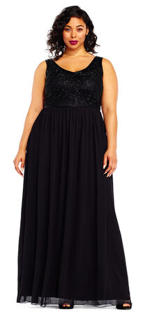 Sequin Beaded Chiffon Dress with Deep V-Back