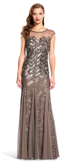 Cap Sleeve Beaded Gown with Sheer Neckline