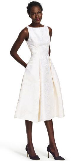Petite Sleeveless Mid Length Floral Jacquard Party Dress