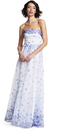 Strapless Floral Printed Organza Ball Gown