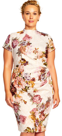 Short Sleeve Floral Print Sheath Dress with Mock Neck