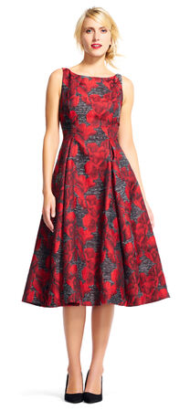 Orchid Print Midi Dress with Deep V-Back