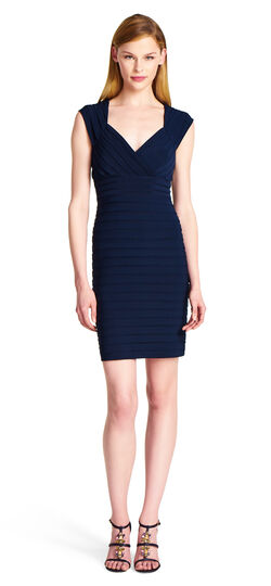 Pleat Sheath Dress with Back Cutout