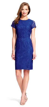 Lace Sheath Dress with Beaded Waist