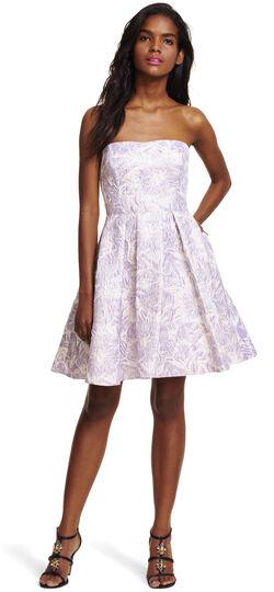 Strapless Floral Metallic Jacquard Party Dress