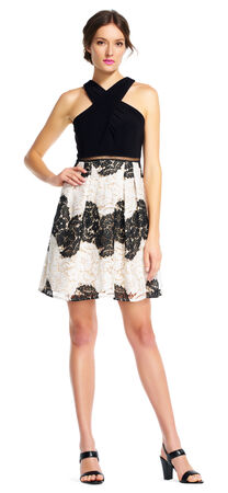 Halter Fit and Flare Dress with Floral Lace Stripe Skirt
