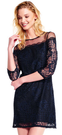 Three Quarter Sleeve Adele Lace Shift Dress with Sheer Neckline