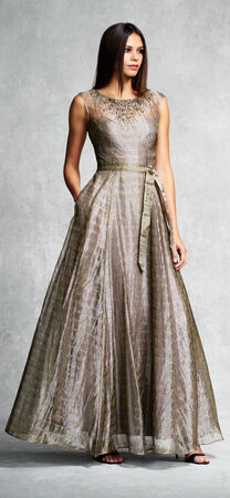 Cap sleeve metallic organza a-line ballgown with illusion yoke