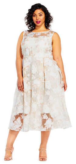 1950s Style Wedding Dresses Floral Embroidered Midi Dress with Sheer Neck and Hem $79.99 AT vintagedancer.com