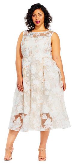 Vintage Inspired Wedding Dresses Floral Embroidered Midi Dress with Sheer Neck and Hem $79.99 AT vintagedancer.com