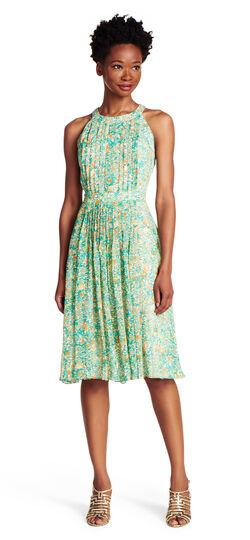 Halter pleated chiffon dress