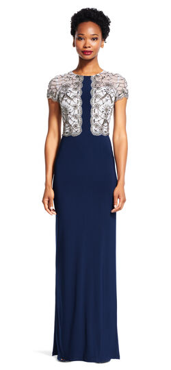 Short Sleeve Beaded Column Gown with Scalloped Details