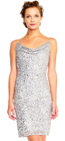 Sequin Cocktail Dress with Cowl Neck