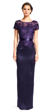 Sequin Floral Lace Gown with Ribbon Tie Waist