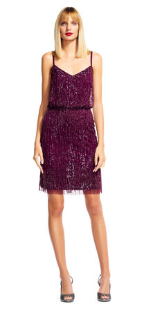 Blouson Cocktail Dress with Beaded Fringe