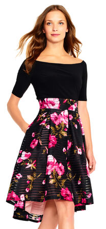 Off The Shoulder Fit and Flare Dress with Burnout Floral High Low Skirt