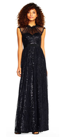 Cap Sleeve Sequin Dress with Chantilly Lace