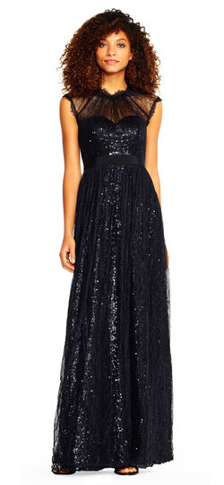 1950s Prom Dresses & Party Dresses Cap Sleeve Sequin Dress with Chantilly Lace $299.00 AT vintagedancer.com
