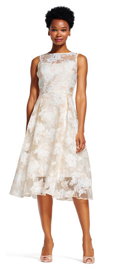 Floral Embroidered Midi Dress with Sheer Neck and Hem