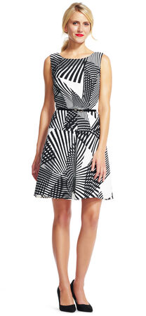Fanned Stripe Fit and Flare Dress with Belted Waist