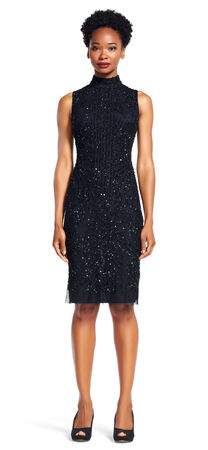 Sleeveless Beaded Mock Neck Sheath Dress