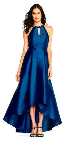 Faille High Low Ball Gown with Beaded Halter Neckline