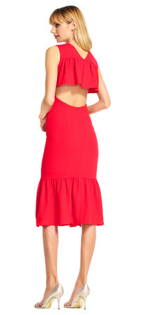 Sleeveless Sheath Dress with Ruffle Drop Waist and Open Back
