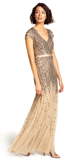 Downton Abbey Inspired Dresses Beaded V-Neck Gown $300.00 AT vintagedancer.com