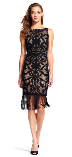 Mirrored Lace Cocktail Dress with Fringe Hem