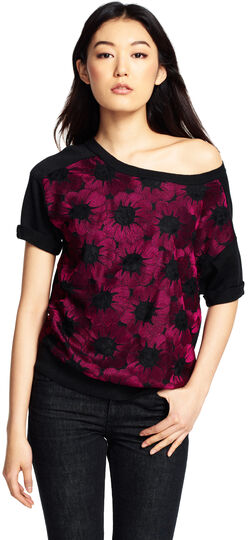 Boatneck Embroidered Knit Top