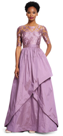 Embroidered Tulle Gown with Taffeta Skirt