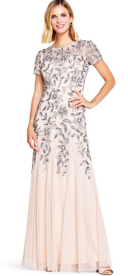 Floral Beaded Godet Gown