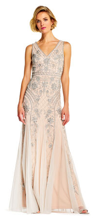 Floral Sequin Beaded Godet Gown with V-Back