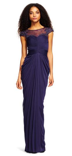 Short Sleeve Draped Illusion Dress $279.00 AT vintagedancer.com