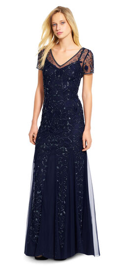 Short Sleeve Illusion V-Neck Gown