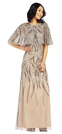 1920s Cocktail Party Dresses, Evening Gowns Beaded Cape Dress with Sheer Accents $369.00 AT vintagedancer.com