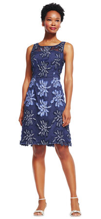 Floral Embroidered Fit and Flare Dress with Fringe Hemline