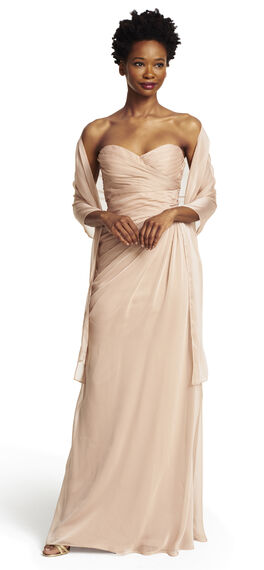 Strapless Shirred Chiffon Gown