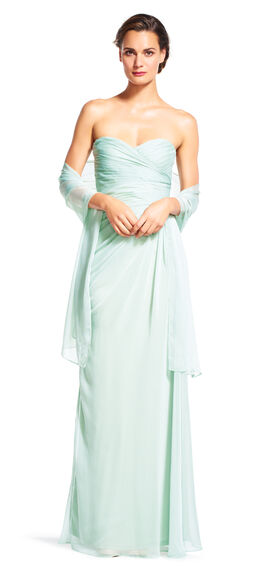 Strapless Shirred Chiffon Gown