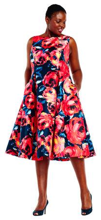 Floral Mikado Midi Dress with V-Back