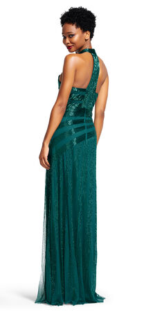 Mock Neck Ray Beaded Halter Dress with T-Back