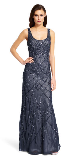 Sleeveless Beaded Gown $157.05 AT vintagedancer.com