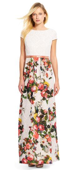 Short Sleeve Floral Matelasse Gown