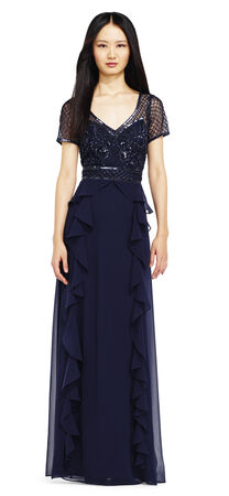 Ruffle Chiffon Beaded Dress with Sheer Short Sleeves