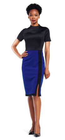 Mock Neck Colorblock Dress with Short Sleeves